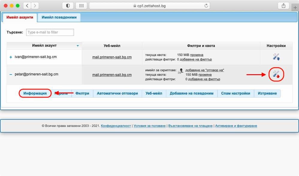 Информационният раздел съдържа както обща информация за имейл акаунта, така и информация за имейл сървъра, който го захранва.